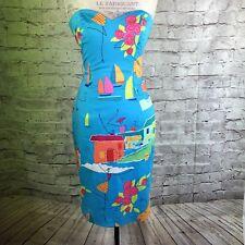David Meister Women's Turquoise Cotton Strapless Dress Sz 2 Bright Design