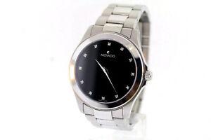 Men's Movado 0605962 JUNIOR SPORT Stainless Diamond Marker Black Dial Watch