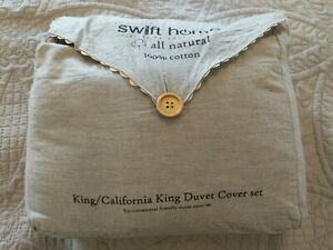 Swift Home King/California King  Duvet Cover Set in Ash Gray. 100% Cotton