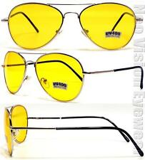 Aviator Sunglasses Retro Night Driving HD Yellow Lens Silver Spring Temples 5ND