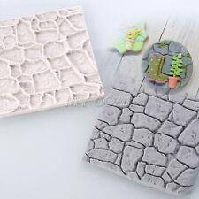 3D Cobble Stone Wall Silicone Fondant Mould Cake Decor Sugarcraft Mat Icing Mold
