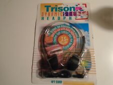 Vintage 1990's Trisonic Dynamic Stereo Headphones Black & Red Pads new 4ft cord