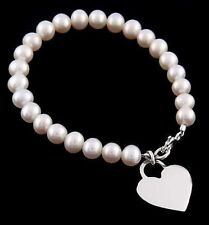"""SILVER CULTURED FRESHWATER PEARL CHILD BRACELET FREE ENGRAVE 6"""""""