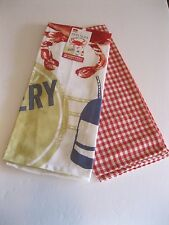 NOW DESIGNS Dish Towel SET OF 2 Tea Towels THE CRAB SHACK NWT 100% Cotton