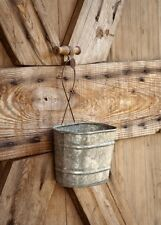 GALVANIZED HANGING BUCKET PLANTER WALL POCKET-Primitive/Vintage/Rustic