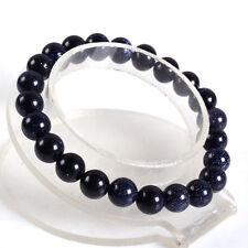 "New 10 mm Blue sand gemstone bead stretch bracelet 7.5 """