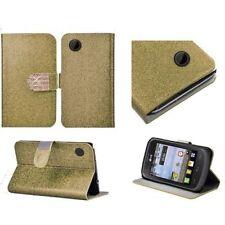 Fundas con tapa color principal oro de piel para teléfonos móviles y PDAs