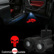 2x Red Punisher Logo Car Door Welcome LED Laser Projector Ghost Shadow Light