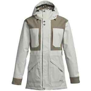 Snowboard Ski Jacket Women's Medium White Grey Blush Airblaster Lady Storm Cloak