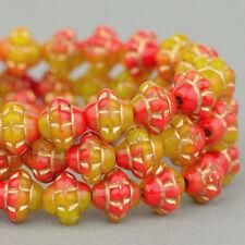 (25) Czech Glass Beads - 6mm Saturn - Red Yellow Mix w/ Gold Wash #RJ202729
