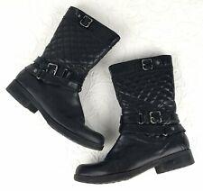 ANNE KLEIN Black Leather Boots Biker Motorcycle iflex Size 10