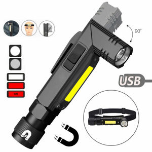 Waterproof Led Flashlight 90° angle USB Rechargeable LED Torch Outdoor Camping