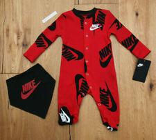 Nike Baby Boy Coverall & Bandana Bib Set ~ Red, Black & White ~
