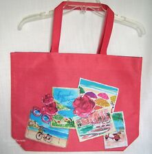 LANCOME 'FRENCH RIVIERA' CORAL CANVAS~BEACH~SHOPPER~TRAVEL~SHOULDER TOTE BAG~NEW