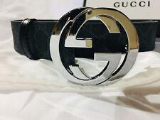 New Authentic Black Gucci Belt 90cm fits 32-36 Silver Buckle GG Logo Black