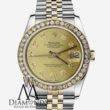 Rolex 31mm Datejust 18K & SS Watch Champagne Diamond Dial & Bezel