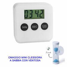 Timer Digitale da Cucina Magnetico con Display LCD bianco omaggio MINI CLESSIDRA