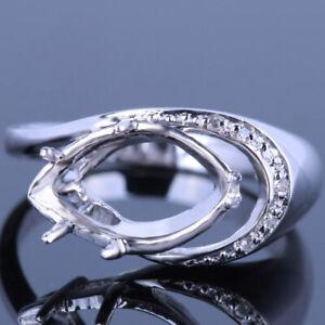 Unique 10K White Gold Marquise 12.5x7mm Semi Mount Fine Natural SI Diamond Ring
