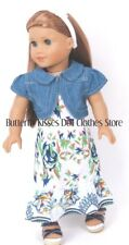 Flower Maxi Dress + Denim Jacket 18 in Doll Clothes Fits American Girl