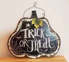 HALLOWEEN Trick Or Treat Web Pumpkin SIGN Wall Door Hanger Plaque Fall Decor