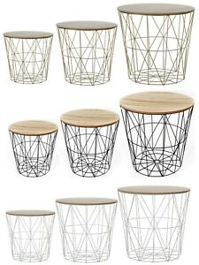 METAL WIRE REMOVABLE WOOD TOP FOLDABLE ROUND COFFEE SIDE TABLE STORAGE BASKET