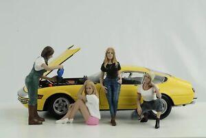 Car Girls IN Tees Figurine Set 4 Pcs Woman Girl 1:18 American Diorama No Car