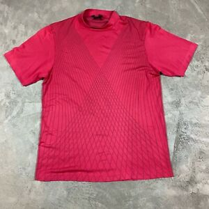 TIGER WOODS COLLECTION NIKE 90s VTG Mock Neck Golf Shirt Pink XXL Dri Fit Polo