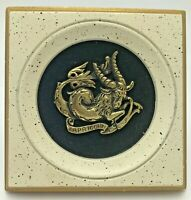 Vintage EA Riba Plaque Zodiac Capricorn Metal Black Velvet Astrological Sign #64