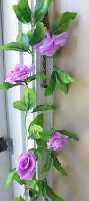 2 Pieces Artificial Hangings Pink Purple Rose Flowers Vine Wedding Garland