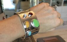 925 Sterling Silver Cuff Bracelet Studded With Gemstones