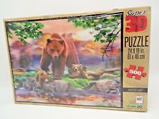 Super 3D Howard Robinson Painted Lady Grizzly & Cubs 500-Piece Puzzle Mb New