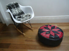 Beautiful Leather Ottoman for use as Coffee Table or Pouf or Pouffe - Red/ Black