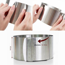 """""""6-12"""" Adjustable Stainless Steel Mousse Cake Ring 2Handle Layered Baking Mold"""