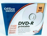Office Depot DVD-R printable 10 pk 16x 4.7 gb 120 min media discs NEW IN PACKAGE