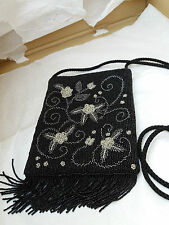 SUZY SMITH BEADED EVENING SHOULDER BAG WITH VELOUR EFFECT BACK