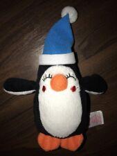 Primark Plüschtier Kuscheltier Stofftier Pinguin Mütze Blau Blue Orange Nase Fuß