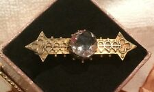 ANTIQUE VINTAGE VICTORIAN 9ct Gold ETRUSCAN STYLE BROOCH-CENTRAL MOUNTED CRYSTAL