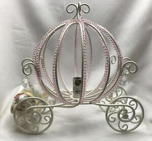 Kids Pottery Barn Princess Pink Beaded Cinderella Carriage Table Lamp E7