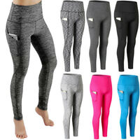 Women Gym Workout Leggings Fitness Yoga Pants with Pocket High Waist Wicking P36