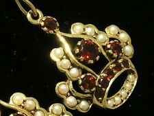 C214- Genuine 9ct SOLID Gold NATURAL GARNET & Pearl Crown Drop Earrings