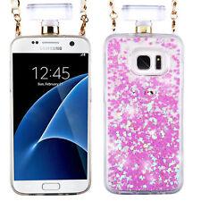 For Samsung Galaxy S7 EDGE Light Purple Glitter Heart Perfume Bottle Liquid Case