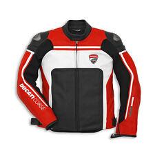DUCATI Corse rojo y blanco chaqueta de cuero moto