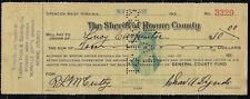Vintage 1932 SHERIFF OF ROANE COUNTY Check, Spencer, WV