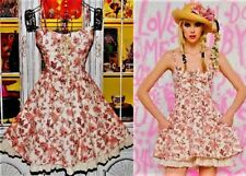 Betsey Johnson RARE Dress Pink Toile Skull Floral Rose Fit & Flare Lace up 4 S