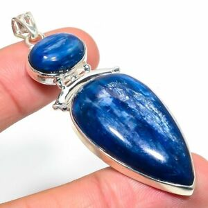Blue Kyanite Gemstone Handmade 925 Solid Sterling Silver Jewelry Pendant 2.72