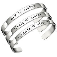 Big Middle Little Sister Charm Bracelet Bangle Silver Charming Family Love Gift