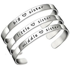 Big Middle Little Sister Charm Bracelet Bangle Silver Charming Family Love Gift
