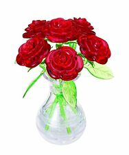 3D Crystal Gallery Jigsaw Puzzle 6 Rose Red 47 pieces FROM  JAPAN