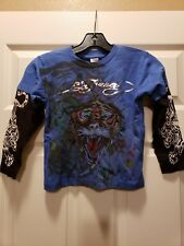 Ed Hardy Kids Boys T-Shirt Size 5-6 Blue Black White Silver Design Front & Back