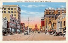1949 Stores Early Cars Congress Ave. looking North Austin TX post card